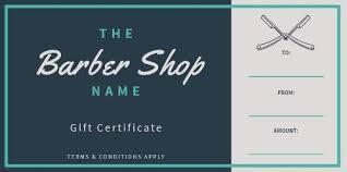 Gift Certificate Template With Logo Design Your Own Barber Shop Gift Certificate
