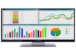 Chart Screen Ultra Wide Cinema Hd Monitor With Tables And Charts On