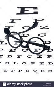 Lying Eye Chart Old Fashioned Round Black Eyeglasses Lying Over The Eye