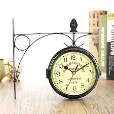 wall clocks antique style double sided metal wall clock hanging metal frame antique style station decor