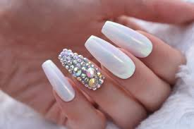 Press On Nails Crystal Aurora Luxury White And Aurora Borealis Mirror Pigment Nails With Ab Swarovski Crystals And Rhinestones