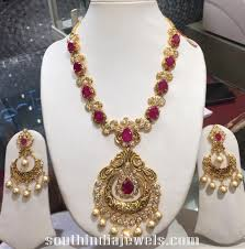 antique gold ruby necklace with earrings