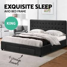 king bed with storage. Interesting Storage King Size Bed Frame Avio Fabric Headboard Wooden Mattress 4 Storage Drawers Inside With