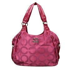 Coach Legacy Logo Signature Medium Fuchsia Hobo ENP