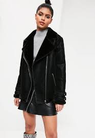 black oversized faux fur lined aviator jacket 97 50 by missguided