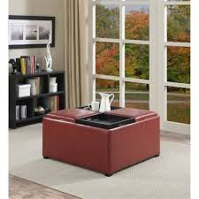 faux leather coffee table storage ottoman in red