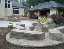 concrete patio with fire pit.  Pit Faux Rock Fire Pit Outdoor Pits Integrity Concrete Designs Woodburn OR With Patio D