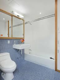 Bathroom floor and half wall with penny tiles