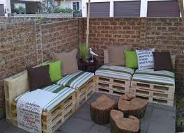Pallets into patio furniture