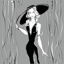 Fashion Girl Beauty Model In Hat Graphics Gray Vector