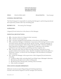 Lifeguarde Cover Letter Responsibilities Summary No Experience