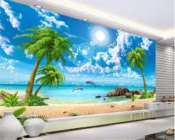 Beibehang 3d Wallpaper Hd Mooie Droom Zee View Coconut Beach