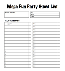 Sample Guest List 8 Documents In Pdf Word Excel 1381580036
