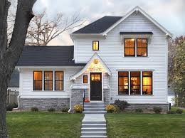 Mid-sized traditional white two-story wood exterior home idea in Minneapolis