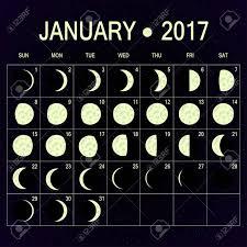 Vector Moon Phases Calendar For January 2017 On Night Sky Template