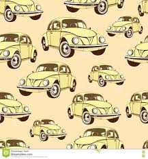 Uitstekend Auto Naadloos Patroon Retro Beeldverhaalachtergrond Gele
