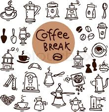 Image result for Drawing of coffee and cookies and computer