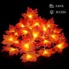 Lighted Garland Indoor Leaf Garland Battery Operated Fall Leaf Lighted Garland 9 8 Feet 30 Led Autumn Leaf Garland Thanksgiving Holloween Decorations Outdoor Indoor Maple