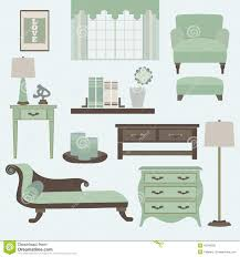 Living Room Furniture Color Living Room Furniture And Accessories In Color Tea Stock Vector