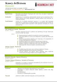 Pharmacy Resume Samples Pharmacist Resume 2017 Templates