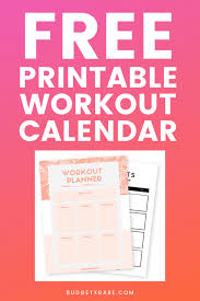 Free Printable Workout Calendar Instant Download Budgetxbabe
