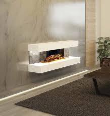 wall mounted ultra modern electric fire with smoked glass log bed and white surround