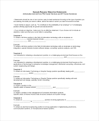 Sample Resume Objectives Statements Sample Objective On Resume 8 Examples In Word Pdf