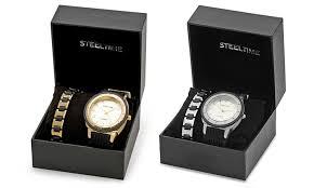 men s golf or silver watch set groupon goods men s 18k gold plated or silvertone watch and bracelet set men s 18k