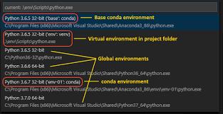python environments in visual studio code