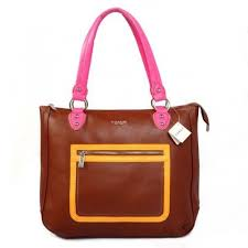 Coach Fashion Signature Medium Brown Satchels BTU