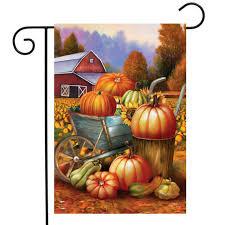 pumpkin farm fall garden flag cart