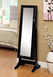 Amazon.com: Black Mirrored Jewelry Cabinet Amoire W Stand Mirror Rings,  Necklaces, Bracelets: Kitchen & Dining