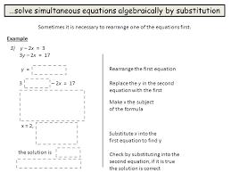 16 solve simultaneous equations algebraically by substitution sometimes it
