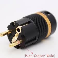 high end viborg audio pure copper gold plated eu schuko power plug iec connector jack for diy hifi electrical power cable