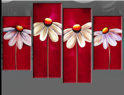easy art wall canvas red fl canvas daisies painting wall art split pictures 4 panel