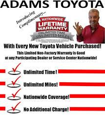 Lifetime Warranty - Adams Toyota