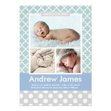 Photo Birth Announcement Modern Pattern Baby Boy Invitation Card