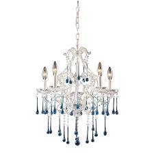 elk lighting 5 light chandelier in antique white and aqua crystal 4002 5aq