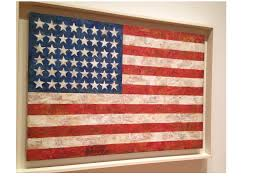 this is an image of an original painting named flag by jasper johns i recently visited the museum of modern art in new york city and took this picture