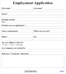 Html Code For Employment Application Form