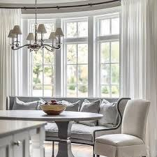 Curved dining bench Settee Curved Gray Dining Settee In Bay Window Decorpad Curved Kitchen Dining Bench Design Ideas