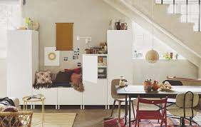 ikea furniture for small spaces. Modular White Storage Cabinets In An Open-plan Home. Ikea Furniture For Small Spaces I