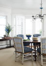 ticking fabric dining room beach with beach style blue cushions chair cushions chandelier