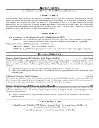 Resume For Computer Technician Free Download Desktop Support