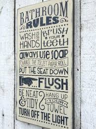 bathroom rules wall decor bathroom rules distressed rustic hand painted wood sign bathroom wall decor typography subway style wall art farmhouse style home