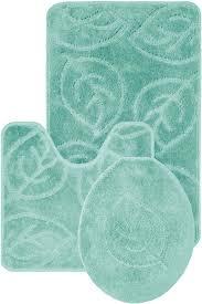gorgeous interesting blue fl pattern unique bathroom rug sets with 3 piece bathroom rug set trends