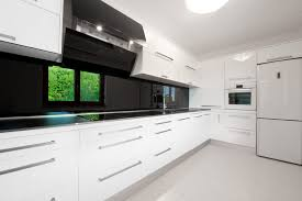 modern kitchen black and white. White Modern Kitchen Cabinetry With Black Walls And