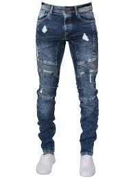 Mens Designer Jeans Size 46 Mens Super Slim Biker Denim Jeans Blue Enzo Designer Menswear