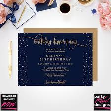 Dinner Invation Birthday Dinner Invitation Template Birthday Party Birthday Invitation Instant Download Editable Birthday Invitation Navy Birthday Bd30