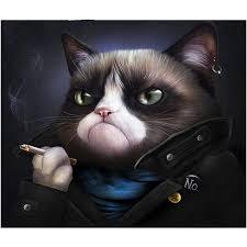 5d diy diamond painting cat crystal diamond painting cross stitch lovely black cat smokes needlework home